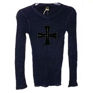NWT lucky brand thermal top with cross
